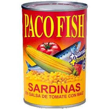 Paco Fish Sardinas en Salsa de Tomate con Maíz 15 oz