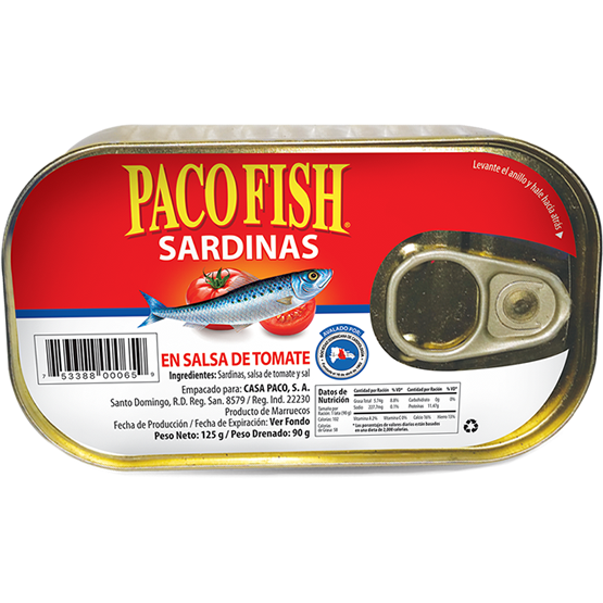 Paco Fish Sardinas Planas en Salsa de Tomate A/F 125g.